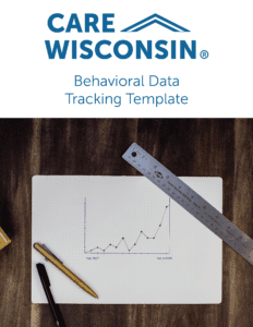 """""""Behavioral Data Tracking Template"""" + Image of a graph and drawing materials"""