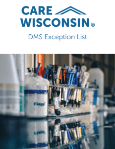 """""""DMS Exception List""""+ Image of medical supplies and syringes"""