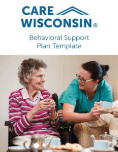 """""""Behavioral Support Plan Template"""" + A photo of a care giver talking with an elderly woman"""