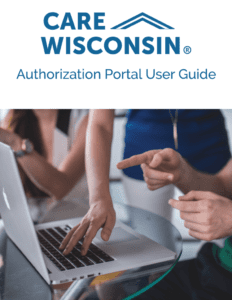 """""""Authorization Portal User Guide"""" + Three people working in front of a laptop"""