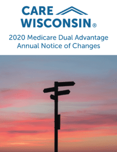 """Directional signs silhouetted by a sunset +""""2020 Medicare Dual Advantage Annual Notice of Changes"""""""