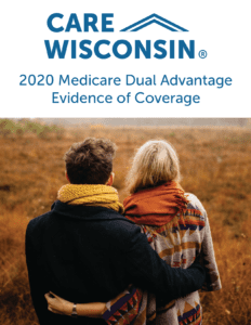 """Man and woman overlook a field + """"2020 Medicare Dual Advantage Evidence of Coverage"""""""