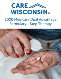 """A man pours a pill into his hand from a bottle +""""2020 Medicare Dual Advantage Formulary - Step Therapy"""""""