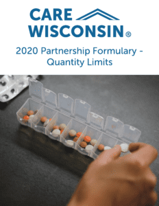 """A woman putting away pills in a container + """"2020 Partnership Formulary - Quantity Limits"""""""