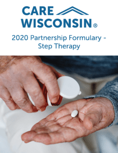 "A man pours a pill into his hand from a bottle +""2020 Partnership Formulary - Step Therapy"""