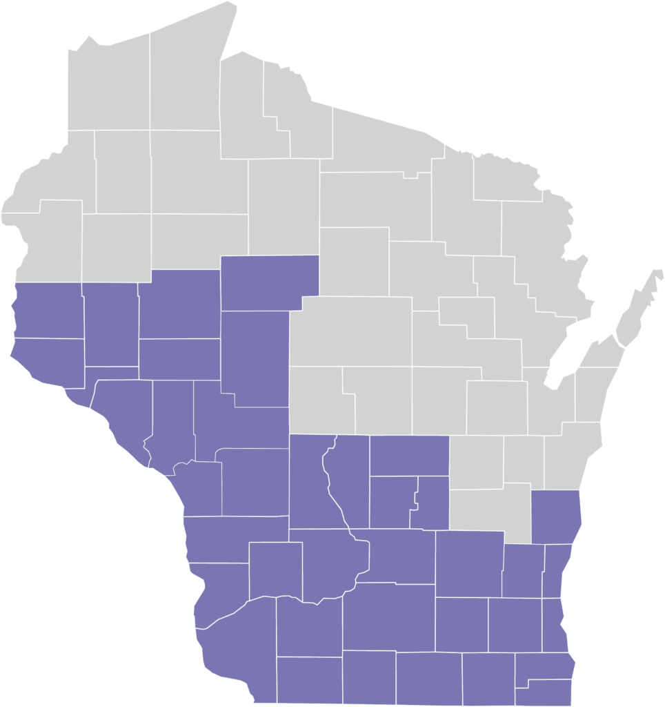 Map of My Choice and My Choice Wisconsin Family Care Service Area as of January 2020