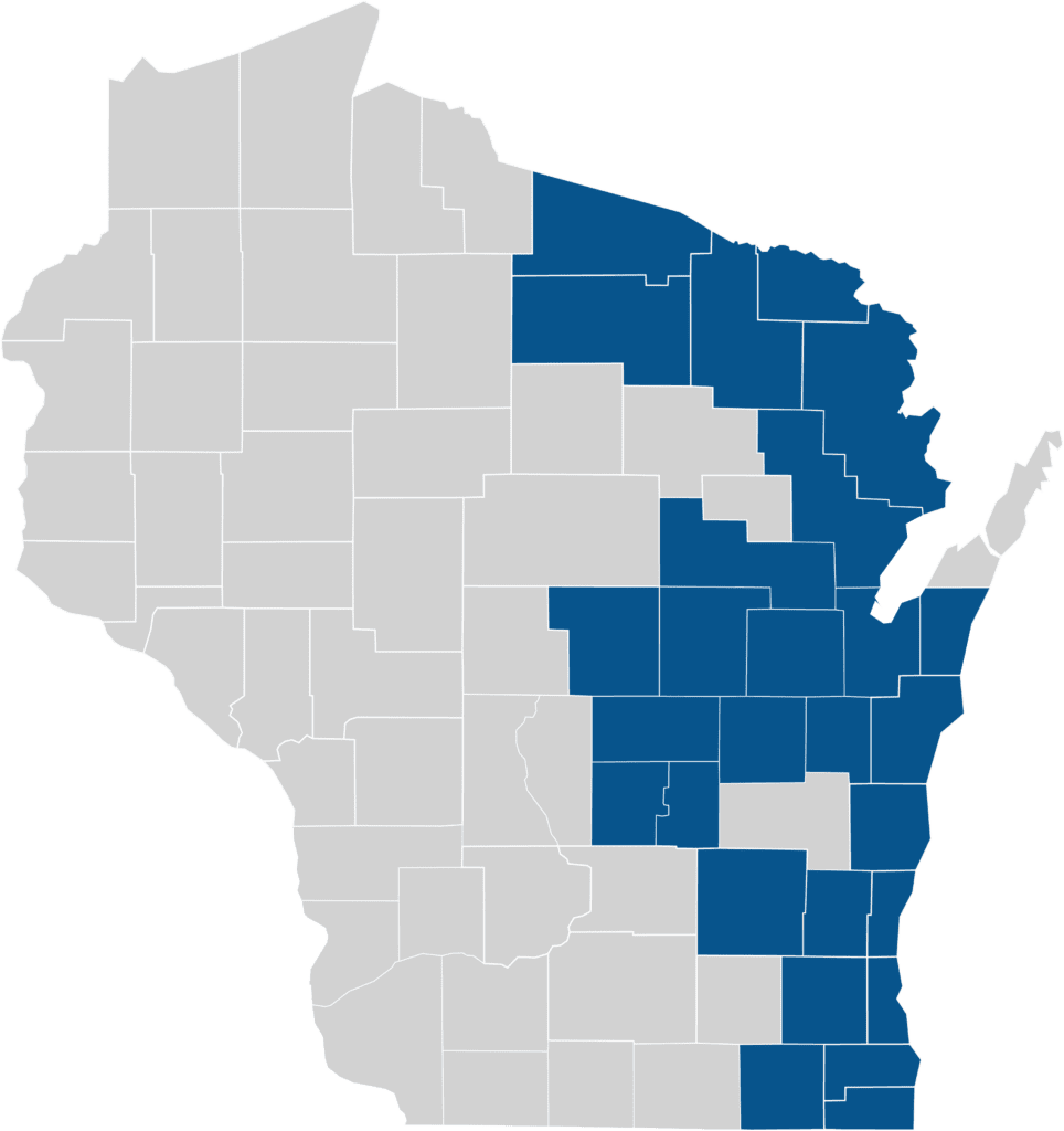Map of BadgerCare Plus Counties